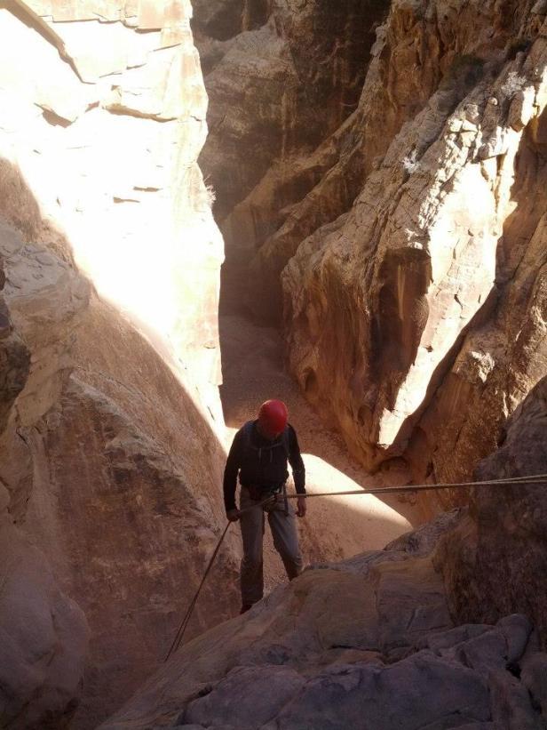 Dropping into Chute Canyon
